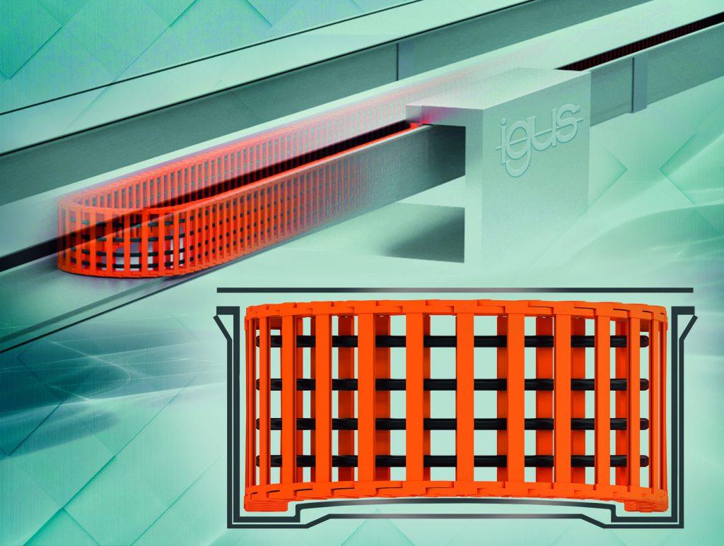 Energiekettenlösung mit Edelstahlrinne