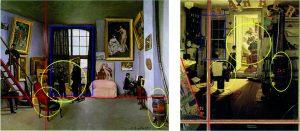 Bild 2: Der gleiche Algorithmus fand auch Einflüsse bei Frédéric Bazilles 'Bazilles Atelier in der Rue Condamine 9' (links) mit Norman Rockwells 'Shuffleton's Barbershop' (rechts). Die gelben Kreise zeigen ähnliche Objekte an, die roten Linien die ähnliche Komposition und die blauen Rechtecke markieren ähnliche Strukturelemente. (Bild: ©Wikimedia Commons/gemeinfrei (links) / ©Norman Rockwell(rechts))