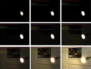 Bild 1: 16Bit lineares Bild des AR0331 HDR-CMOS (erzeugt aus einer Belichtung mit 4ms und einer zweiten mit 250µs). Dargestellt werden jeweils 8Bit, von l.o. nach r.u. jeweils um ein Bit nach unten geshiftet, d.h. die Belichtungswerte werden bei jeder Verschiebung verdoppelt.
