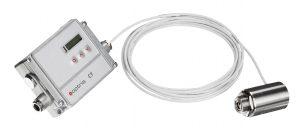 Die Elektronik (420g) ist separat vom Sensorkopf (200g) und hat Programmiertasten sowie ein LCD-Display. (Bild: Optris GmbH)