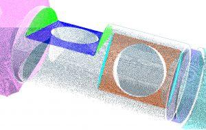 Bei ShapeInspection werden Laserlinien auf lange oder zylindrische Bauteile projiziert. Die Entfernungskoordinate z und die Position auf der y-Achse werden für jeden einzelnen Messpunkt berechnet. Durch die Bewegung der Teile können die dabei entstehenden Messpunkte digitalisiert und analysiert werden. (Bild: Mesure-Systems-3D)
