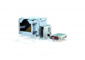 Die neuen Ethernet-Schnittstellen im Größenvergleich (v.l.n.r.) RJ45, ix Industrial und Multi-IO-Schnittstelle. (Bild: Harting Electric GmbH & Co. KG)