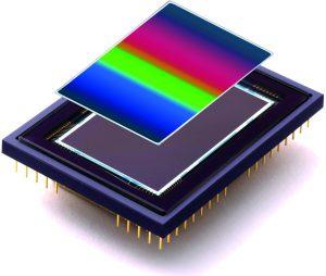 Kontinuierlich variable Bandpassfilter für Hyperspectral Imaging Systeme können direkt auf einem Sensor montiert werden. (Bild: Delta Optical Thin Film A/S)
