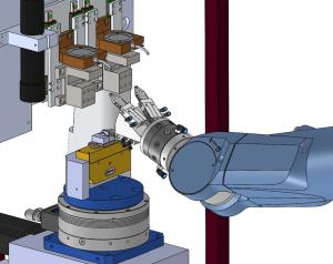 Zusammen mit St?ubli Roboter, hat Rob-swiss Messmodule f?r die automatische Vermessung von miniaturisierten Bauteilen entwickelt. (Bild: Opto GmbH)