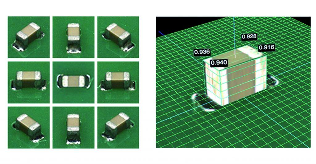 3D-Inspektion von Komponenten und L?tstellen: Es werden die Aufnahmen der Hauptkamera in einer zoombaren Gesamtansicht mit markierten Fehlern angezeigt, w?hrend die acht Seitenkameras zus?tzlich gezoomte Einzelaufnahmen von Fehlern aus verschiedenen Perspektiven ausgeben. (Bild: MEK Marantz Electronics)