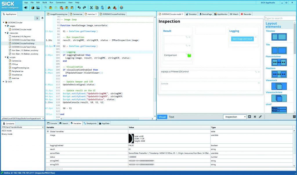 Die Entwicklungsumgebung Sick AppStudio mit Skript-Editor und UI-Builder. (Bild: Visioning)