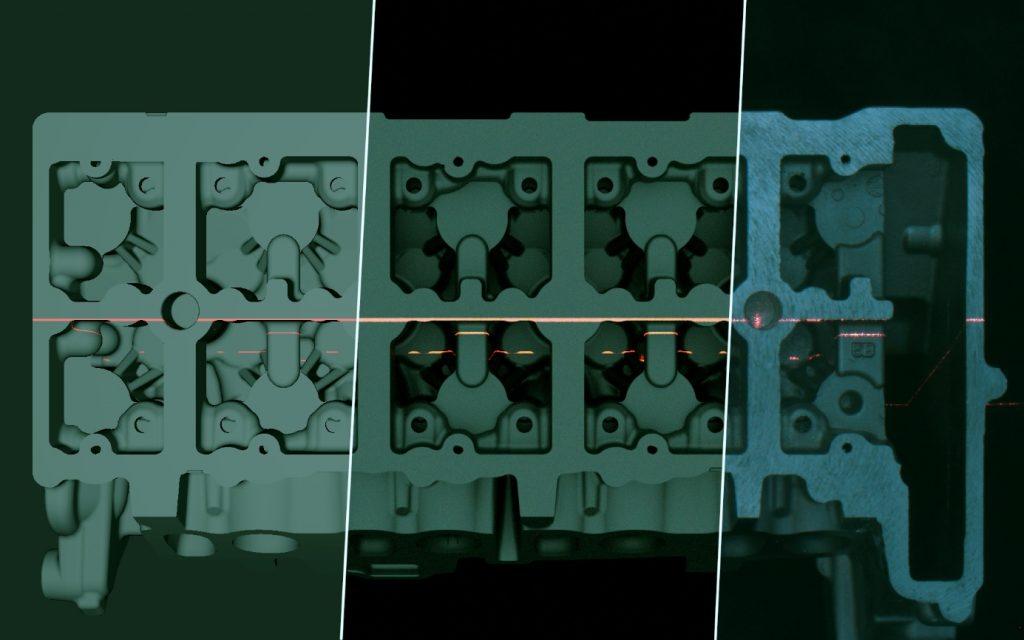 Simulation der gewinnung zur Auslegung eines Triangulationssensors für einen gegossenen Motorblock; Real-time-Rendering (links), Rendering mittels Mitsuba (Mitte), reales (rechts). (Bild: KIT, Lehrstuhl für Computergrafik)