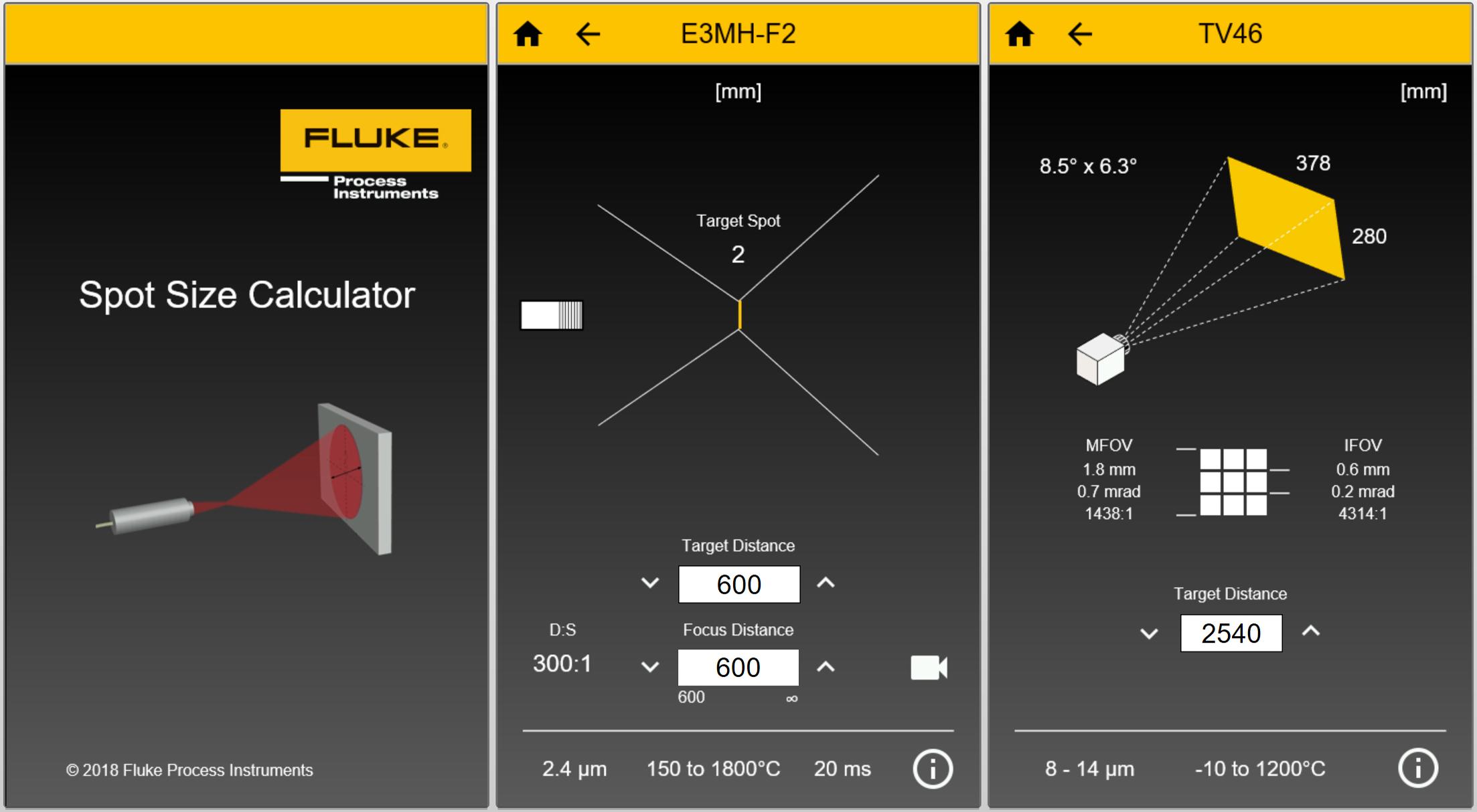 Die intuitive App berechnet die Messfleckgrößen für Infrarot-Pyrometer je nach dem Montageabstand. (Bild: Fluke Process Instruments GmbH)