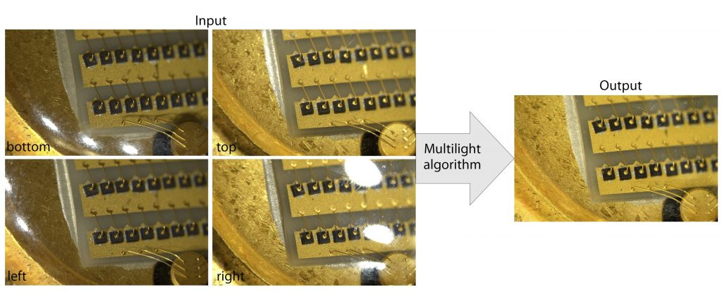Image 1   A multi-light algorithm takes four images of a diode with a lense with glare from top light sections resulting in an image where specular highlights are removed and the contrast of the details enhanced. (Bild: Octonus Finland Oy)