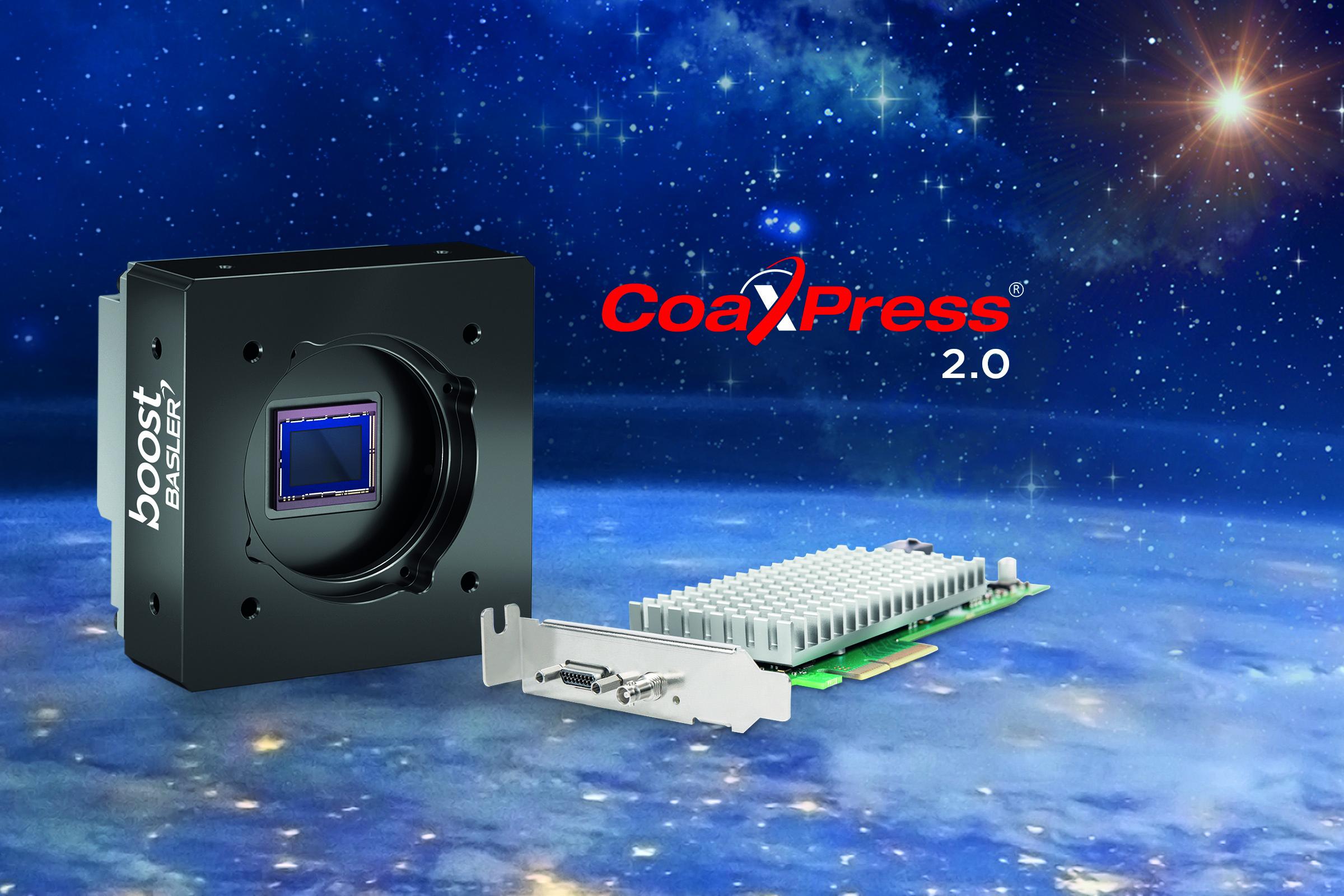 Bild 1 | Basler bietet neben der CXP-2.0-Kamera Boost zudem die eigens designte CXP-12-Schnittstellenkarte an. Kombiniert mit der Kamera bilden beide das Basler Boost Bundle. (Bild: Basler AG)