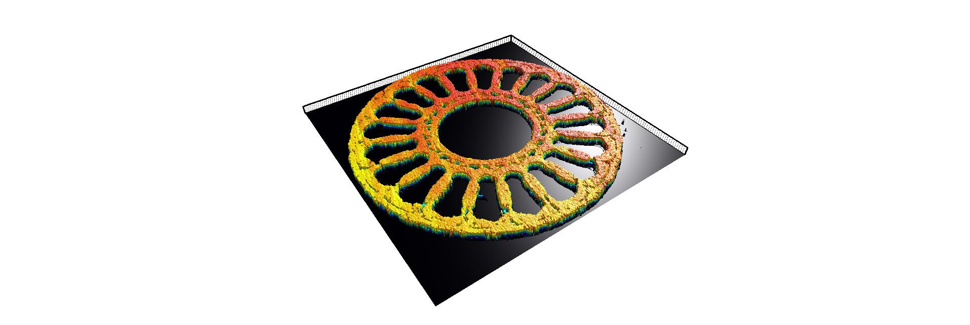 Bilder 1+2 | Mögliche Prozessfehler im 3D-Druck mit dem LPBF-Verfahren führen zu Topographieveränderungen und können mittels OCT gemessen werden. Oben: Topographie eines im 3D-Druck generierten Bauteils (u.) das Originalteil. (Bilder: Precitec-Optronik GmbH)