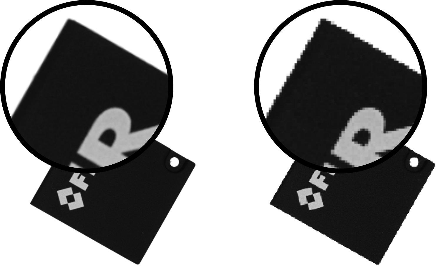 Bild 1 | Während Bilder, deren Größe mit verschiedenen Methoden geändert wurde (links Kantenglättung mit Antialiasing, rechts ohne), auf den ersten Blick gleich aussehen, reichen die in weiß hervorgehoben Unterschiede aus, um einen signifikanten Einfluss auf die Genauigkeit der Deep Learning Inferenzergebnisse zu haben. (Bild: Flir Systems GmbH)