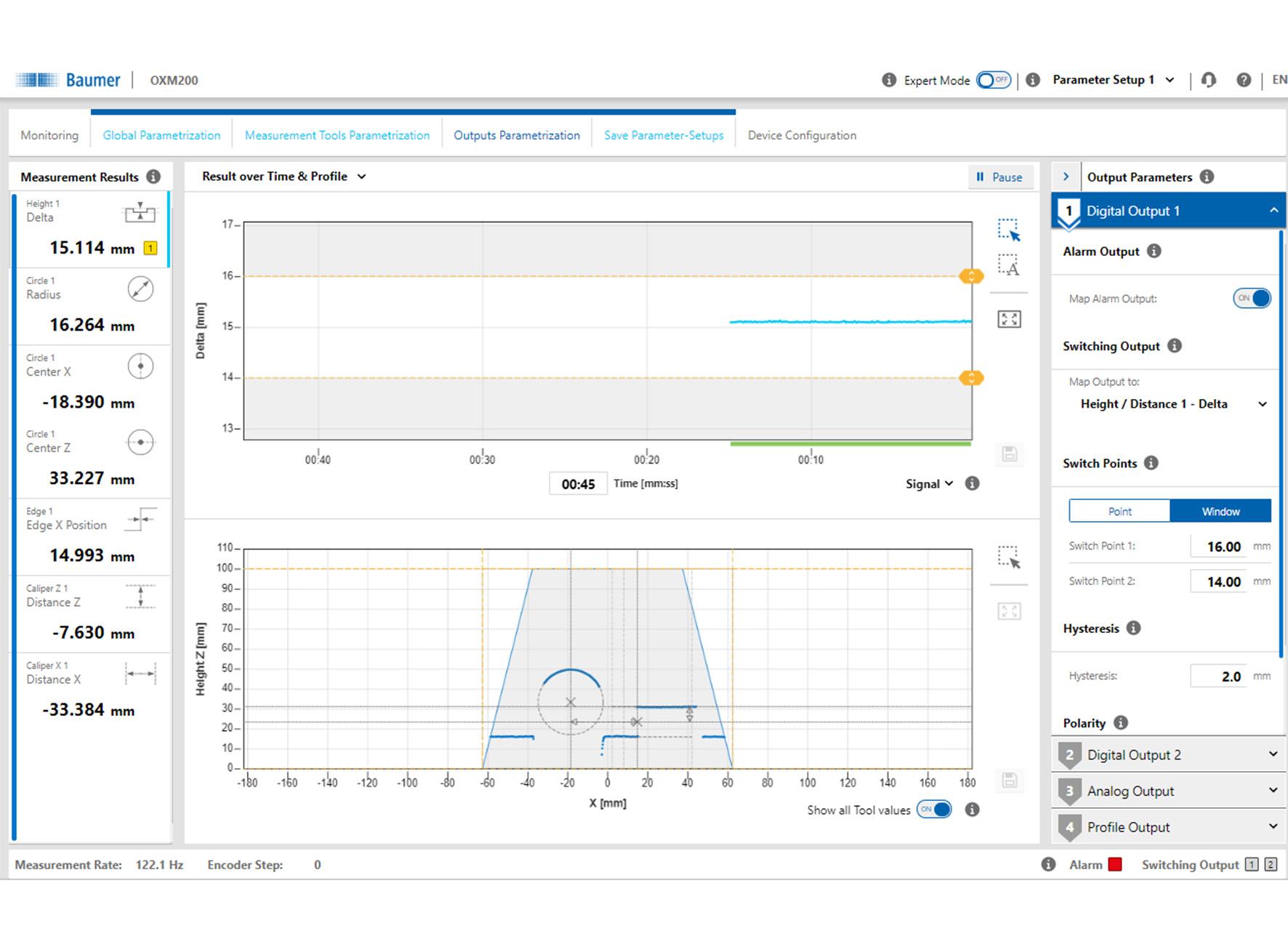 Bild 1 | Web-Interface mit OXM 200 (Bild: Baumer Group)