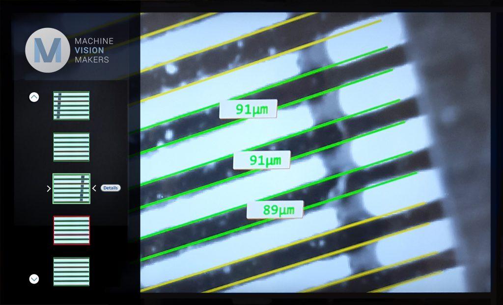 Bild 1 | Eine SMT-Leiterplatte unter die Lupe genommen. Das Programm prüft bei der Pinnvermessung die Einhaltung der Toleranzen im Mikrometerbereich. Dies funktioniert nur mit hochauflösenden Objektiven. (Bild: Qioptiq Photonics GmbH & Co. KG)