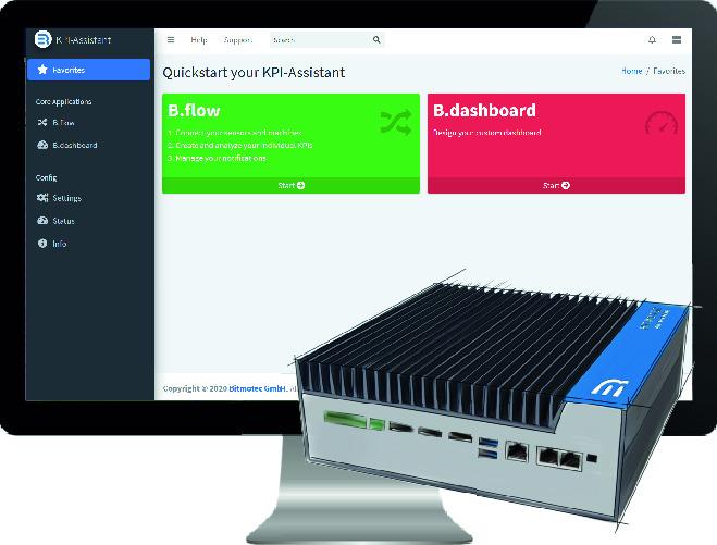 Der KPI-Assistant kann über ein Webinterface konfiguriert werden. Als Komplettsystem auf Edge-IPCs entfällt jeglicher Einrichtungsaufwand von Softwarekomponenten. Zudem besteht die Möglichkeit, den KPI-Assistant On-Premises auf anderen Industrie-PCs zu integrieren. (Bild: Bitmotec GmbH)