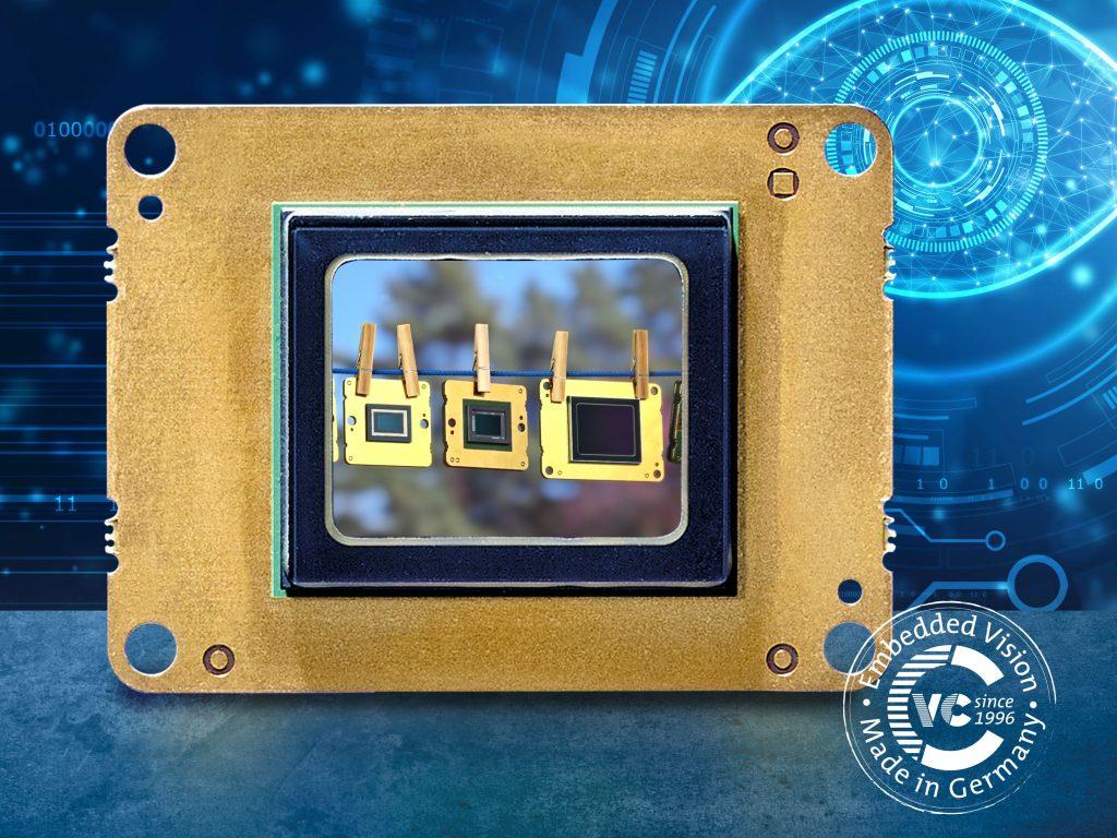 Für die MIPI-Kameramodule wurde eine Konverterplatine entwickelt, die rückseitig auf das Sensormodul aufgesteckt und verklebt wird. Damit können High-End-Sensoren direkt an die MIPI-Schnittstelle zahlreicher Prozessorboards angeschlossen werden. (Bild: ©Blackboard/shutterstock.com / Vision Components GmbH)