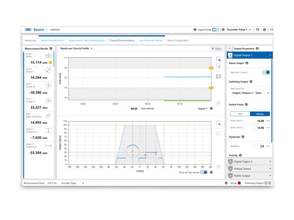 Das im Sensor integrierte Webinterface ermöglicht eine schnelle Einstellung der Profilsensoren. (Bild: Baumer Holding AG)
