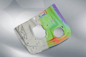 Falschfarben-Darstellung der Abweichung zwischen CAD-Zeichnung und Objekt. (Bild: Polytec GmbH)