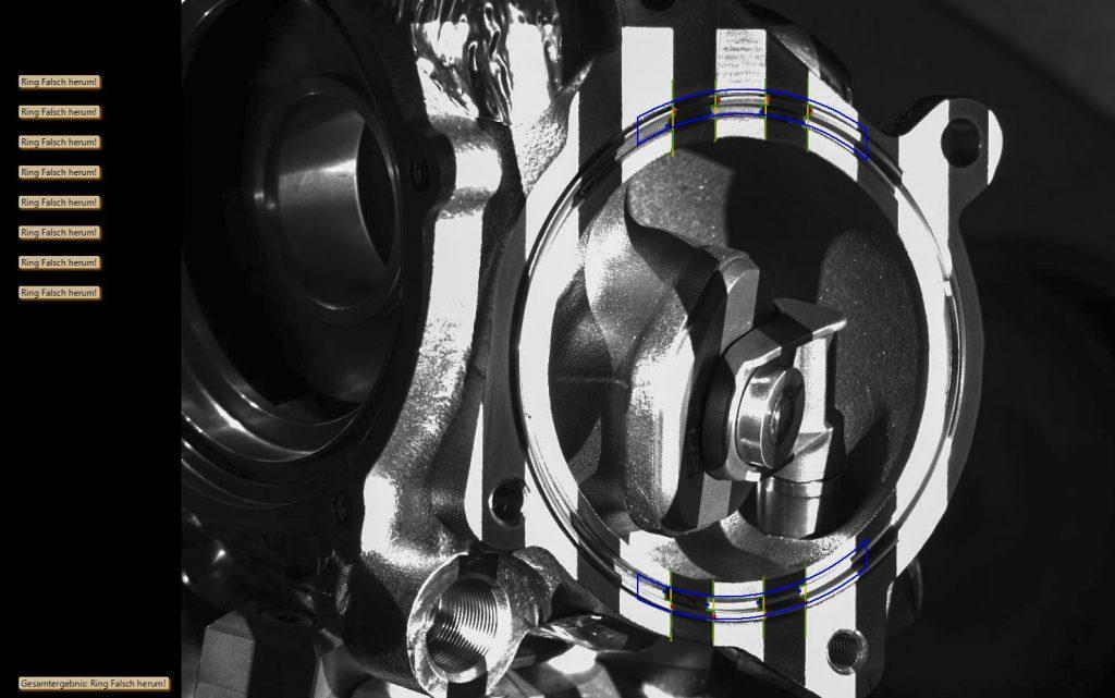 Z-Ring Kontrolle des Turboaggregats auf Anwesenheit und 3D-Höhe mittels eines LED-Projektors und einer 20MP-Zoomkamera. (Bild: Kamillo Weiß / CRETEC GmbH)