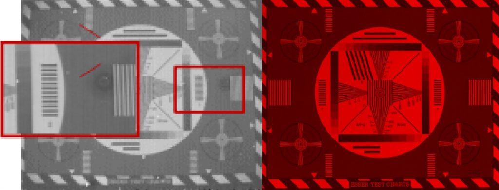 RAW eines InGaAs-Sensors (l.) mit typischen artefakten (vertikal Streifen, Flip-Chip Bondingfehler und teilweise Pixel Cluster Defekte) und durch Kamera-seitige korrekturfunktionen und Sensorkühlung optimiertes (r.). (Bild: Allied Vision Technologies GmbH)