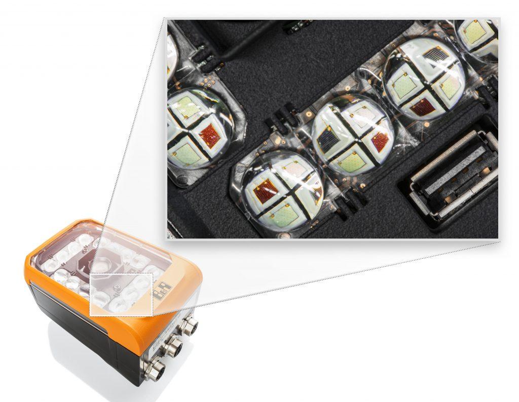 Die integrierten Beleuchtungssysteme von B&R blitzen mit einer Genauigkeit und einer minimalen Pulsdauer von einer Mikrosekunde. Alle Beleuchtungen lassen sich zudem mit bis zu vier unterschiedlichen LED-Farben ausstatten. (Bild: B&R Industrie-Elektronik GmbH)