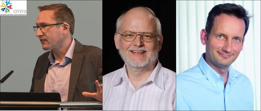 Das neu gewählte EMVA-Präsidium EMVA-Präsident Dr. Chris Yates (links), Vizepräsident Prof. Dr. Bernd Jähne (Mitte), Schatzmeister Arndt Bake (rechts). (Bild: EMVA European Machine Vision Association)