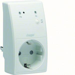 Funkzwischensteckdose für flexible Anwendungen, z.B. für eine Stehlampe. (Bild: Hager Vertriebsgesellschaft mbH & Co. KG)