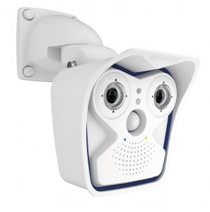 Mobotix AllroundDual M15: Die wetterfeste Premium-Dualkamera für alle Einsatzzwecke (IP66) kann auch als kombinierte Tag- und Nachtkamera verwendet werden. Die sensoren des modularen Systems sind auswechselbar. Die 5MP-Sensorik ist über 2,5-mal detailreicher als Full-HD. Die Kamera besitzt mit dem MxActivitySensor außerdem eine Video-Bewegungserkennung. (Bild: MOBOTIX AG)