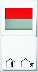 Ein Betätigen des  Serientasters aktiviert oder deaktiviert zentral den Stromkreis. Das Ampelsignal zeigt dem Bewohner sicher an, dass er ohne Sorge das Haus verlassen kann. (Bild: ALBRECHT JUNG GMBH & CO. KG)