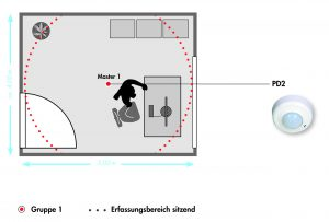 An einen typischen Büroalltag werden die Einsparmöglichkeiten mit intelligenter Lichtreglung deutlich. (Bild: B.E.G. Brück Electronic GmbH)