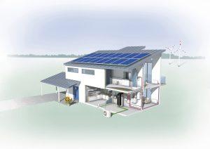 Die Firma Dimplex ermöglicht mit dem Smart Eco-System die Vernetzung und zentrale Steuerung der gesamten Haustechnik, z.B. die Steuerung einer Dimplex Wärmepumpe oder Lüftungsanlage oder die intelligente Nutzung von Photovoltaik-Strom vom heimischen Dach. (Bild: Initiative Wärme+/ Glen Dimplex Deutschland GmbH)