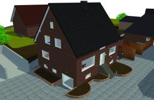 3D-Visualisierung in DDS-CAD: Das 170m2-Wohnhaus bietet eine hochwertige Systemintegration von Beleuchtung, Heizungsanlage und Rollladensteuerung sowie Zutrittskontrolle durch KNX-, 1-Wire- und Dali-Bus. (Bild: Data Design system GmbHBild: Data Design system GmbH)