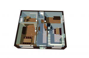 Dreidimensionales, gerendertes Erdgeschoss in DDS-CAD mit Beleuchtungsobjekten und Einrichtung. (Bild: Data Design system GmbH)