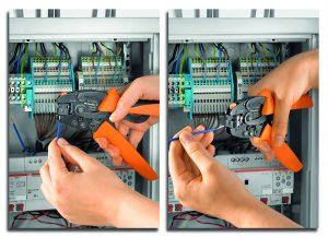 Weidmüller Crimpwerkzeug 'PZ6 Roto L': Mit nur einem Crimpwerkzeug können Anwender an unzugänglichen Stellen sicher und besonders zeitsparend crimpen. Die Leitungen und Aderendhülsen lassen sich wahlweise von vorne oder seitlich in das Werkzeug einführen. Dazu ist 'PZ6 Roto L' mit einem drehbaren Crimpeinsatz ausgestattet, welcher sich in zwei Positionen fest arretieren lässt. (Bild: Weidmüller Interface GmbH & Co. KG)