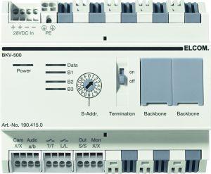 Das 2Draht-Video-System ist eine Weiterentwicklung des bewährten 2Draht-Audio-Systems. Neben den Funktionen Rufen, Sprechen und Türöffnen erfolgt auch die Übertragung des Videosignals über die beiden Adern der Busleitung. Mit dem neuen BKV-500 Strangkoppler ist jetzt ein Maximalausbau bis 256 Videotelefone und 150 Haupttüren möglich. (Bild: Hager Vertriebsgesellschaft  mbH & Co. KG)