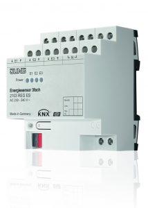 Jung KNX-Energiesensor zur Messung und Überwachung des Energieverbrauchs; die Visualisierung erfolgt auf den Jung Smart Displays. (Bild: Albrecht Jung GmbH & Co. KG)