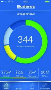 Mit der App EasyControlPRO hat der Heizungsfachmann unterwegs immer die wichtigsten Parameter im Blick. Mit der Navigationsfunktion zeigt die App den schnellsten Weg zum nächsten Kunden. (Bild: Buderus Thermotechnik GmbH)