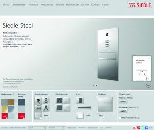 Im Konfigurator lässt sich jetzt auch Siedle Steel planen. Die Anlagen werden vom Hersteller individuell nach Kundenwunsch im Schwarzwald produziert. (Bild: S. Siedle & Söhne)
