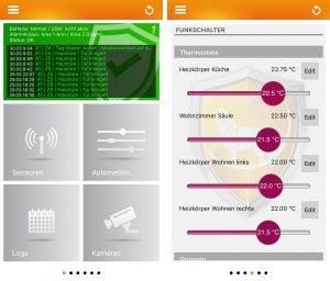 Lupusec App Oberfl?che und Anwendungsbeispiel. (Bild: Lupus-Electronics GmbH)