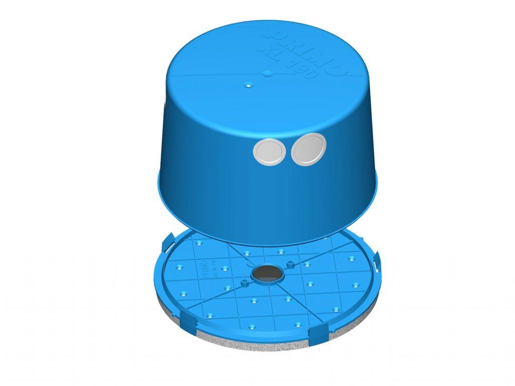 Das kompakte Leuchten-Einbaugeh?use Light-Box XL 190 von Primo besteht aus einer Mineralfaserplatte als Deckel und einem Geh?use mit Membran?ffnungen für die Rohrf?hrung. (Bild: PRIMO GmbH)