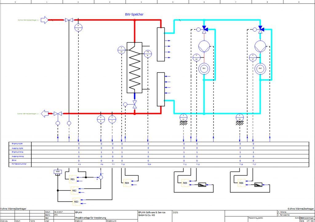 Heizung und Fernwärme werden in diesem R&I Schema übersichtlich dargestellt. (Bild: Eplan Software & Service GmbH & Co. KG)