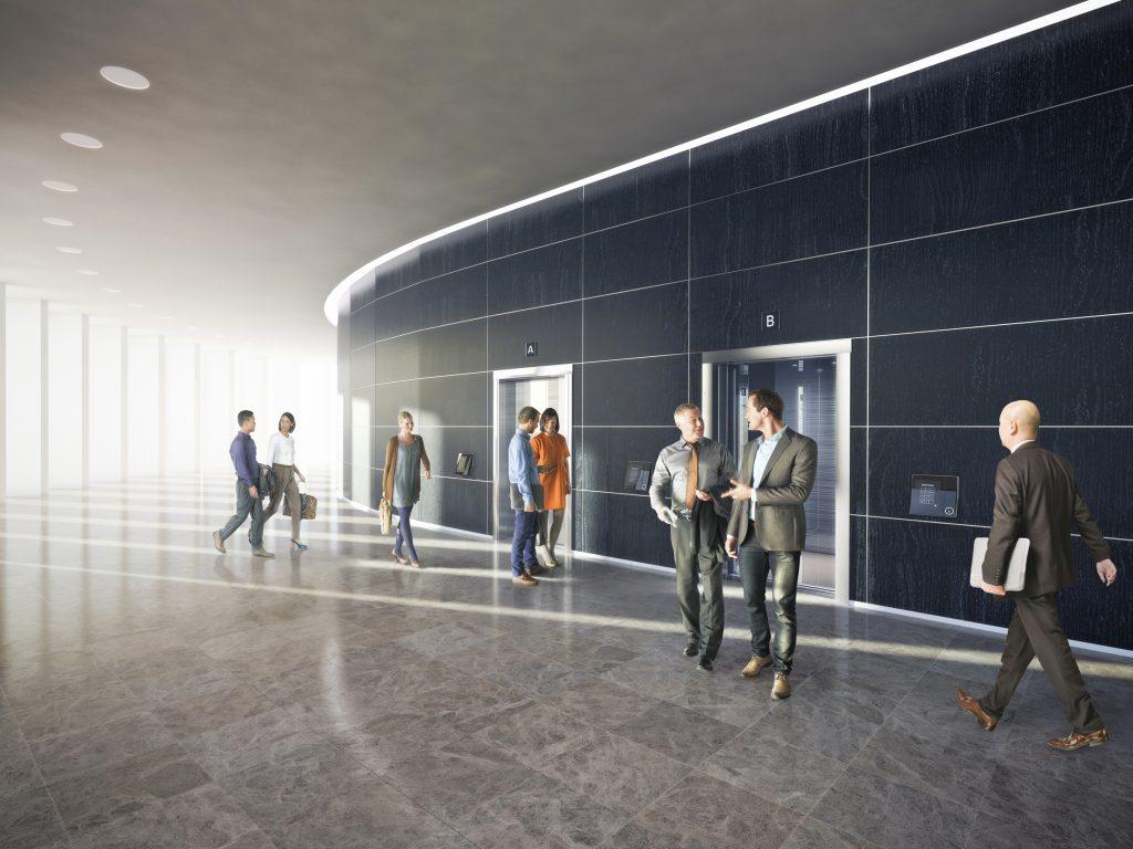 Bereits mit der Zutrittsbuchung wird der nächste freiwerdende Aufzug gerufen. (Bild: Kone GmbH)