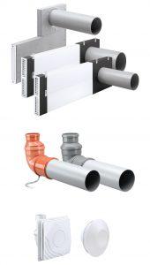 Alles aus einer Hand: Mit den neuen Laibungsmodulen für die Komfort-Lüftungsgeräte Zehnder ComfoSpot Twin40, Zehnder ComfoSpot 50 und Zehnder ComfoAir 70 (oben im ), den Dach- und Kellermodulen für Zehnder ComfoSpot Twin 40 (Mitte), sowie den Abluftventilatoren Zehnder ComfoSpot XR und Zehnder CV2 (unten) unterstreicht Zehnder seine Fokussierung auf den Systemgedanken. Der Raumklimaspezialist bietet dezentrale Lüftungslösungen inklusive jeglicher Zubehörteile aus einer Hand und garantiert damit deren Kompatibilität. (Bild: Zehnder Group Deutschland GmbH)
