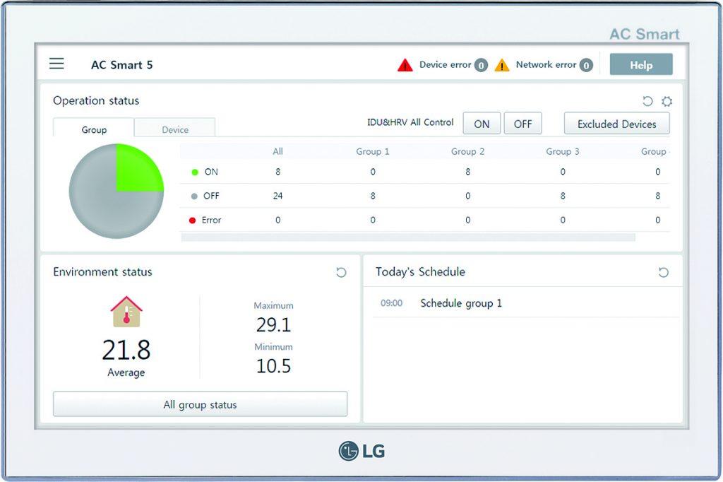 Die Steuereinheit LG Smart 5 erlaubt dank Touchscreen und intuitiv bedienbarer Oberfläche, auch komplexe Klimasysteme mit bis zu 128 Inneneinheiten komfortabel zentral zu überwachen und zu steuern. (Bild: LG Electronics Deutschland GmbH)