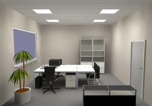 Ein Set ist mit vier Leuchten auf die lichttechnischen Anforderungen eines Doppelarbeitsplatzes ausgerichtet. Die anschlussfertigen Beleuchtungen bieten Tageslichtregelung, Tunable-White-Technik bis hin zu Human Centric Lighting (HCL). (Bild: Regiolux GmbH)