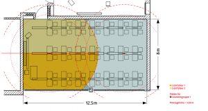 In einem großen Schulungsraum werden zwei PD4-M-DAA4G im Master/Slave-Verfahren eingesetzt. Der Master misst die Helligkeit im Raum mit zwei separaten Lichtfühlern auf der Fenster- und der Wandseite. (Bild: B.E.G. Brück Electronic GmbH)
