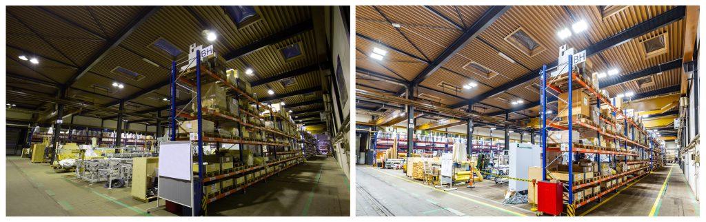 Die Produktionshalle vor und nach der Beleuchtungssanierung durch die Deutsche Lichtmiete Logo der Deutschen Lichtmiete (Bild: Deutsche Lichtmiete / Mario Dirks)
