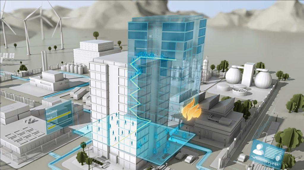 Ein konkretes Beispiel dafür, wie der Digital Twin die Sicherheit von Mensch und Gebäude erhöht, ist die Simulation der Gebäudeentfluchtung und zwar sowohl in der Planungsphase als auch im Praxisbetrieb. (Bild: Siemens AG)