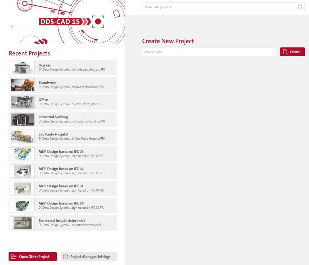 Über die neue DDS-CAD-Startseite können Projekte komfortabel geöffnet, gesucht oder angelegt werden. (Bild: Data Design System GmbH)