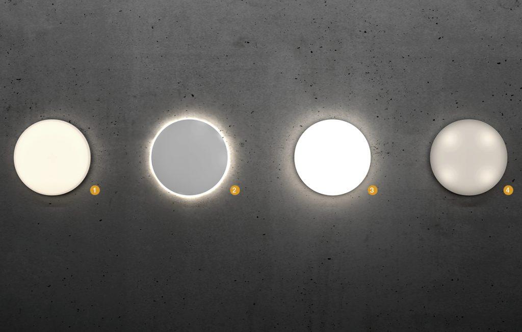 Mit vier digital einstellbaren Lichtfunktionen kann das Licht individuell  gestaltet werden: (1) Grundlicht 10-50%, (2) Backlight, (3) Hauptlicht 50-100%, (4) Notlicht. (Bild: Steinel Vertrieb GmbH)